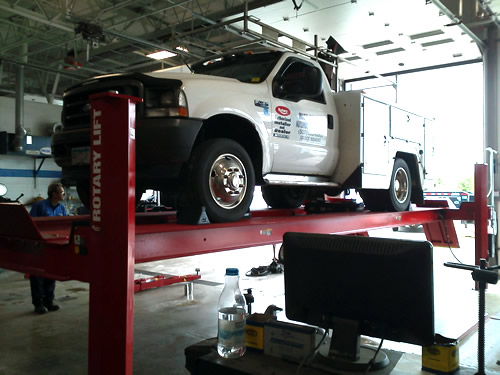 4 post lift installation at adamson motors for Southpoint motors rochester mn
